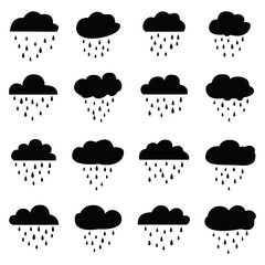 Rain and clouds icon set