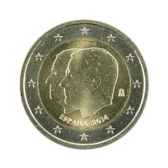 2 euro coin (2014) spain change of sovereigns isolated on white background