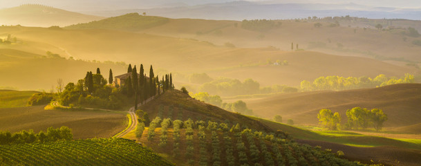 Fairytale, misty morning in the most picturesque part of Tuscany, val de orcia valleys