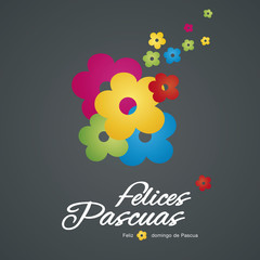 Easter color flowers black background Spanish text