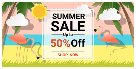 Summer sale background with two pink flamingos , vector , illustration