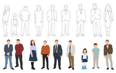 Vector illustration, collection of people and outlines of people