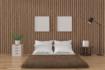 bedroom loft interior design in the wood room in 3D rendering