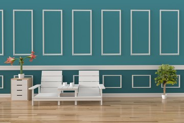 minimalist set of sofa loft interior in green wall and wood floor room in 3D rendering