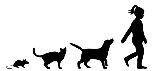 Illustration, vector, silhouette of dog cat and mouse and child