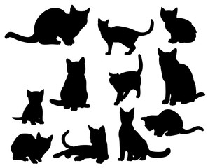 Illustration, vector, silhouette of the cats set