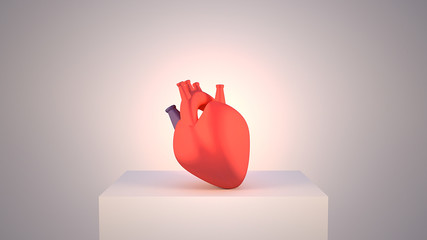 3d rendering picture of human heart object on white display stage. Spotlight and vignette effect.