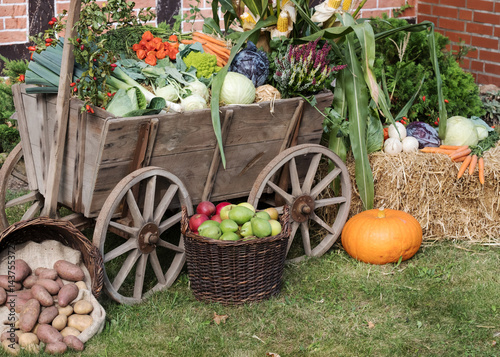 erntedankfest oder herbstmarkt alter leiterwagen mit gem se dekoriert stockfotos und. Black Bedroom Furniture Sets. Home Design Ideas