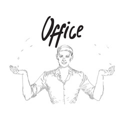 Vector vintage illustration with office business man