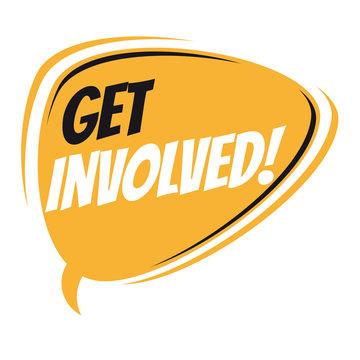 get involved retro vector speech balloon