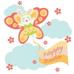 Vector cartoon of cute bunny with butterfly custom for Easter postcard, greeting card and wallpaper