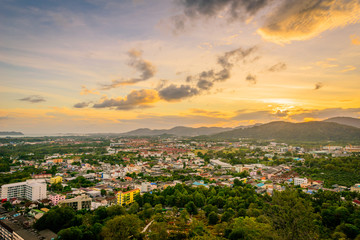 Khao Rang Viewpoint of Phuket city in sunset, Phuket province, Thailand