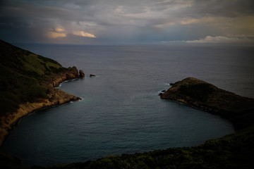Sunset view mount Guia at Faial island, Azores, Portugal