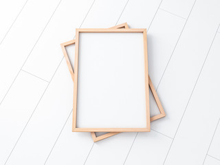 Two wooden poster frame mockup on the white floor. 3d rendering