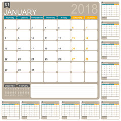 Calendar 2018 / English calendar template, set of 12 months, week starts on Monday, vector illustration