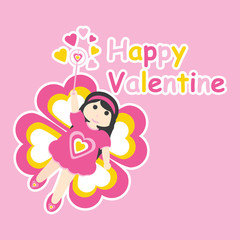 Vector cartoon of cute girl with butterfly custom for Valentine postcard, greeting card, and wallpaper