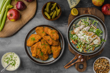 Breaded original schnitzel with waldorf salad