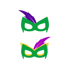 Superhero mask for face character in flat style