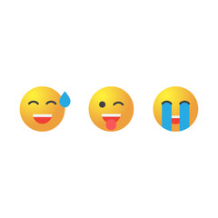 Emoticon set. Collection of Emoji. 3d emoticons eps10