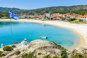 The southernmost part of the Peninsula of Sithonia boasts finest sand beaches in Greece, clear waters and breathtaking landscapes. Photo from Kalamitsi, Sitonia, Halkidiki, Greece.