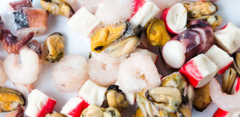 Frozen seafood mix of shrimps surimi mussels and octopus