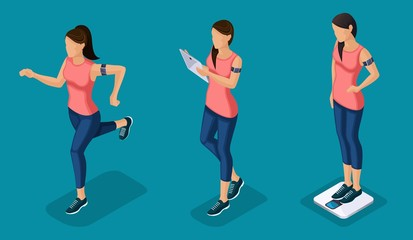 Trendy Isometric people and gadgets, teenagers, young people, students, using hi tech technology, pad, laptop, girl, weight, sports, smart watches isolated