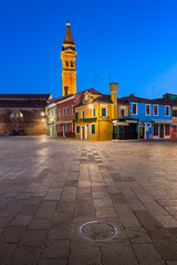 Fotomurales - Chiesa di San Martino and Colorful Burano Houses in the Evening, Burano, Veneto, Italy