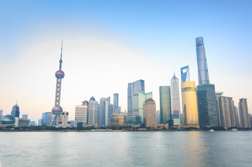 New Pudong skyline, looking across the Huangpu River from the Bund, Shanghai, China, Asia