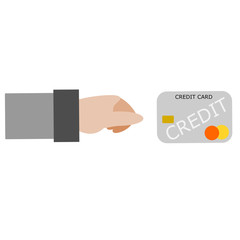 Customer is holding a credit card for paying order on white background.