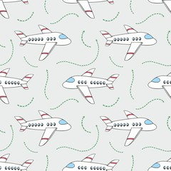 Aircraft. Vector seamless pattern for design