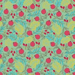 Pomegranate garden. Vector seamless pattern