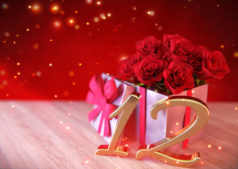 birthday concept with red roses in gift on wooden desk 12th. 3D render