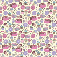Sweets. Stylized cute vector seamless pattern