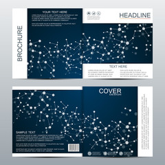 Square brochure template with structure of molecular particles and atom polygonal abstract background medicine science and technology concept vector illustration