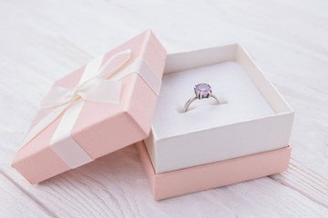 Silver ring amethyst in the gift box