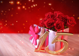 birthday concept with red roses in gift on wooden desk. fifteenth. 15th. 3D render