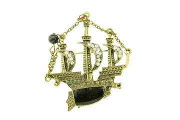 Sailing ship vintage pendants isolated on white background