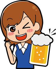 ビールで乾杯する女性のイラスト