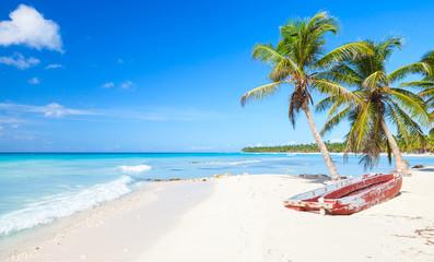 Palms and red pleasure boat, Saona beach