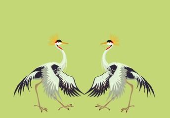 2 dancing Crane crane birds illustration