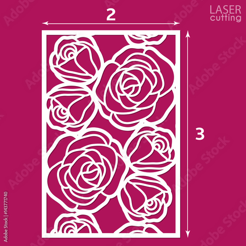 Die Cut Ornamental Panel With Pattern Of Roses May Be Use For Laser