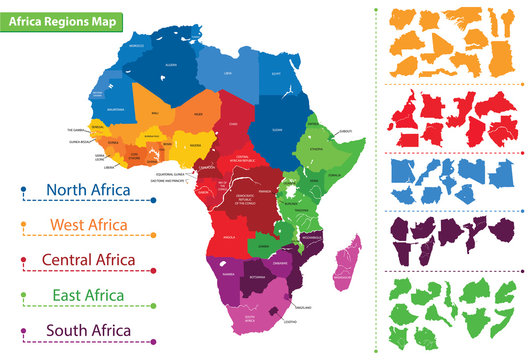 Map of the regions of Africa. Map of Africa