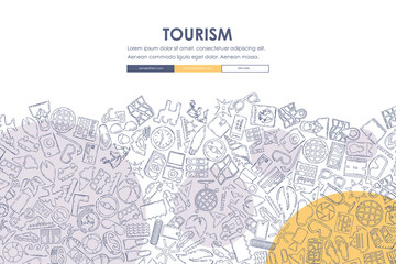tourism Doodle Website Template Design