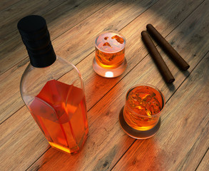 Whiskey bottle, glass and smoking cigars