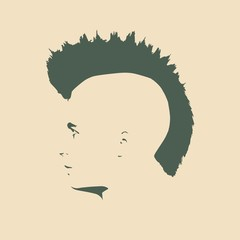 Man avatar profile view. Isolated male face silhouette or icon . Vector illustration. Mohawk hairstyle