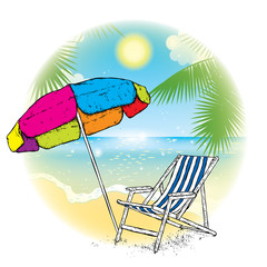 Multicolored umbrella and chaise longue against the beach. Sea, sky, sun and palms in the finished design of postcards or advertisements. Vector illustration on a theme of vacation and rest.