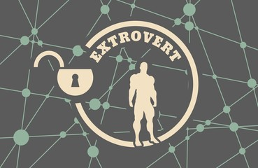 extrovert simple icon metaphor. image relative to human psychology. muscular man in the locked circle. Molecule And Communication Background. Connected lines with dots.
