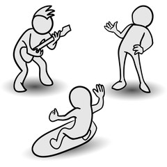 Vector hand drawn cartoon set - abstract hobby and recreation characters: guitar player, talker, surfer. Isolated on white