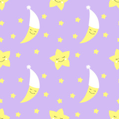 Cute baby half moon pattern vector seamless. Child print with crescent in nightcap and eyelash stars. Lilac background for birthday card, fabric or wallpaper, baby shower invitation template.