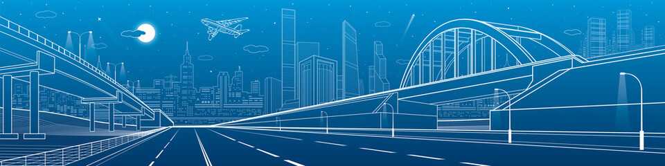 Railway bridge, empty highway, road overpass. Urban infrastructure, modern city on background, industrial architecture, towers and skyscrapers. White lines image, night scene, vector design art